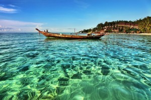 Strand und Boot in Koh Phangan